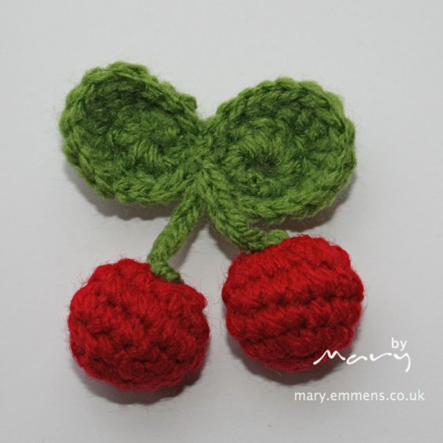 Crochet cherry brooch