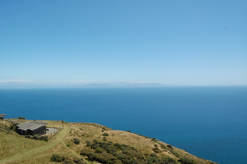 Gun emplacement at Makara, with the South Island in the distance