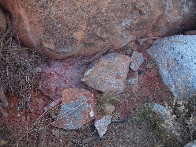 Granite Mountain Summit - fire retardant residue just below the summit block