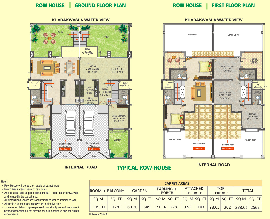 Row House Floor Plan Dsk Meghmalhar Phase 2 1 Bhk 2