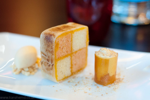 Dessert: Battenburg cake, apricot ice cream and foam
