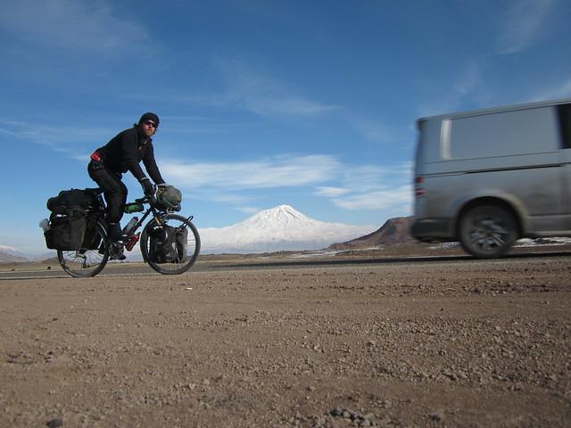 climbing Tendurek Pass with Ararat in the background