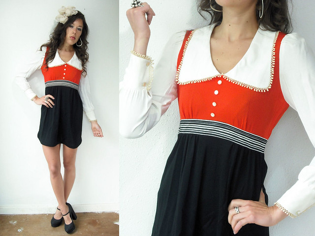 white peter pan collar black and red dress