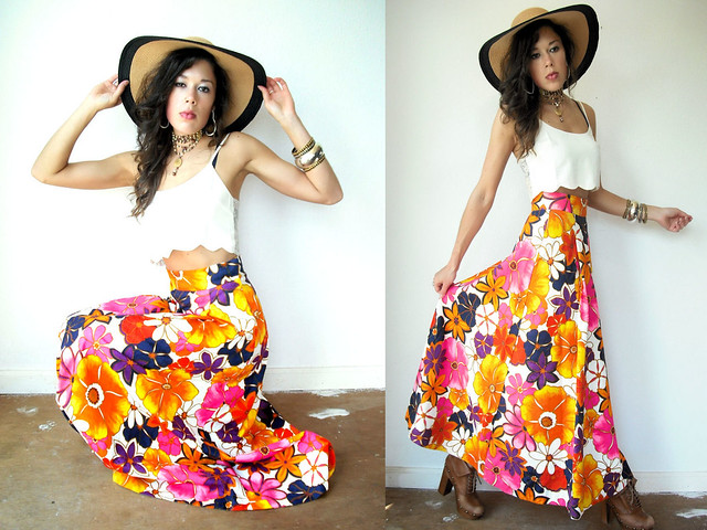bright bold floral high waist maxi skirt