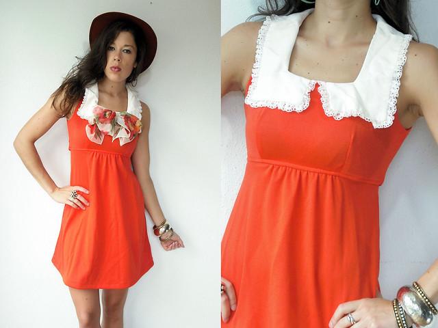 redish orange peter pan eyelet collar mini dress