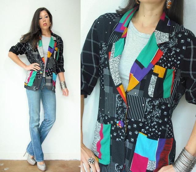patchwork colorblock blazer