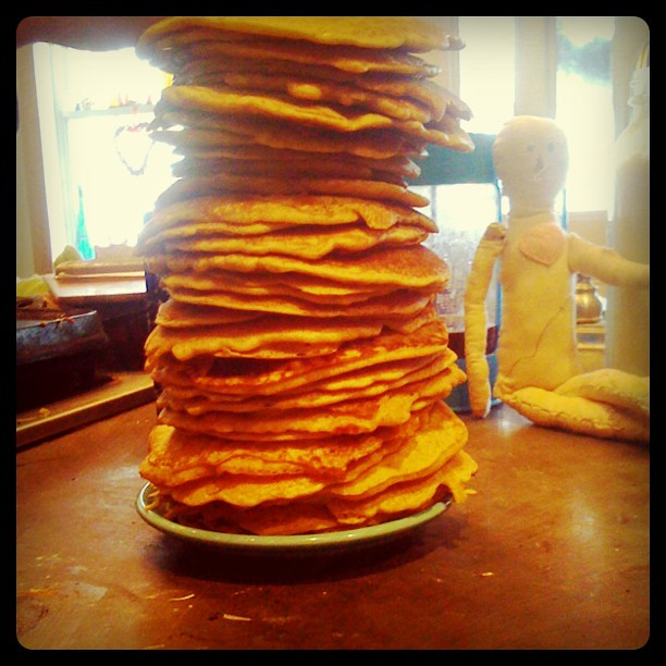 7 yr old Aiden's giant stack of pumpkin pancakes