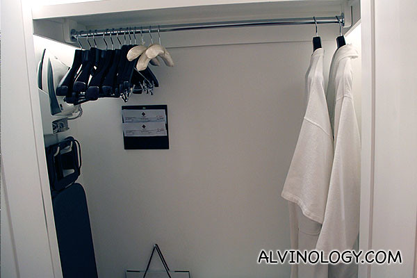 Wardrobe with iron, ironing board, safe box, bathrobes, basically everything one needs