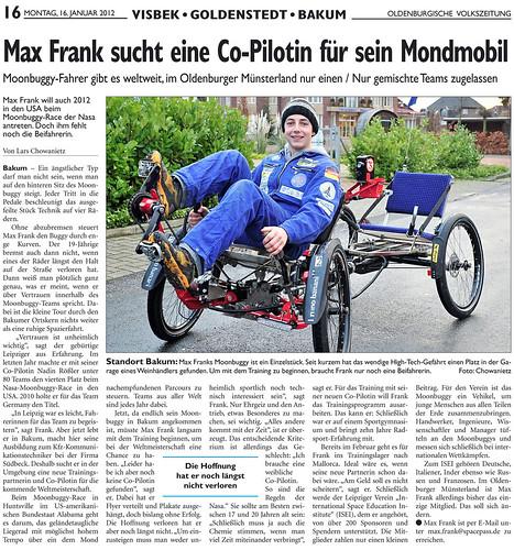 Max Frank e il suo Moonbuggy cercano co-pilota