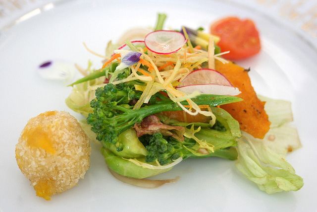 Spring Salad with Kagoshima Vegetables - sweet potato and cheese croquette, snow peas, fava beans, fried leeks and grilled pumpkin