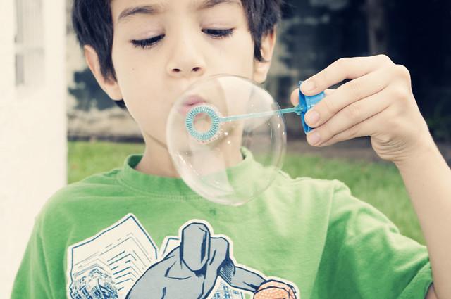 Javier con burbuja de agua