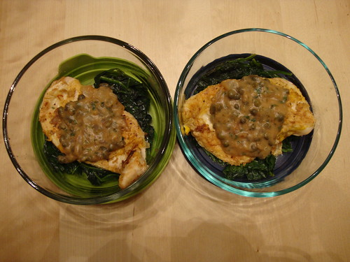 Chicken Piccata on a bed of spinach from Now Cook This by Rocco DiSpirito--YUM