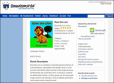 Ryan the Lion ebook on Smashwords