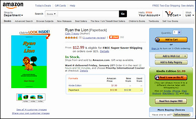 Ryan the Lion paperback on Amazon