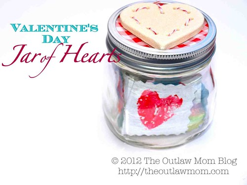 Valentine's Day Jar of Hearts (Photo from The Outlaw Mom)