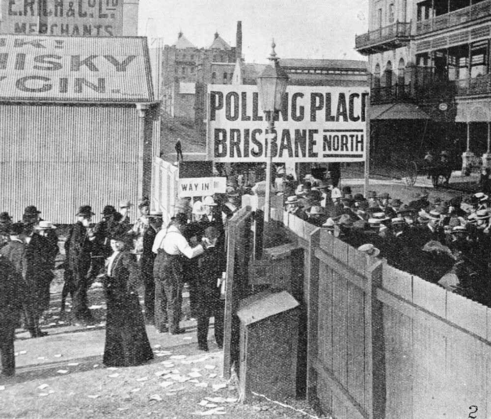 Women inside the gate of the city polling station, voting for the first time in a Queensland state election, May 1907