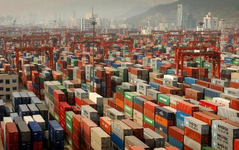 Shipping containers at a Chinese port