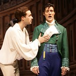 Captain Jack Absolute (Scott Ferrara) consoles his friend Faulkland (Gareth Saxe), who believes his beloved is being unfaithful in the Huntington Theatre Company's production of