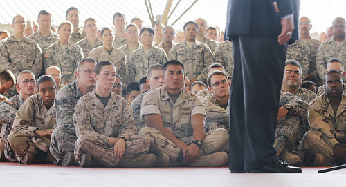 United States military base in Djibouti at Camp Lemonier in the Horn of Africa. Pentagon chief Leon Panetta shown talking with troops. by Pan-African News Wire File Photos