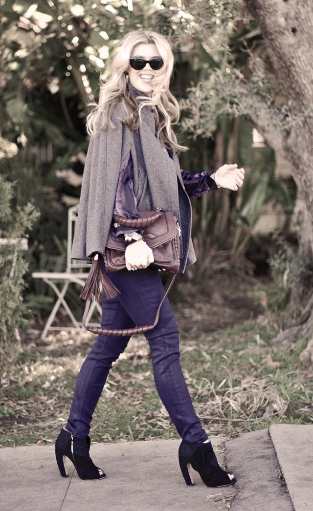 purple  jeans and  blouse - miu miu shoes-wool cape