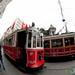 Tram in Fisheye on Istiklal Avenue - Istanbul, Turkey