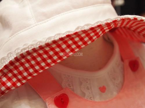 ミキハウスの子供服 UVカット帽子 レースとチェッ
