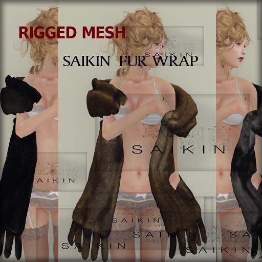 SAIKIN mesh fur wrap