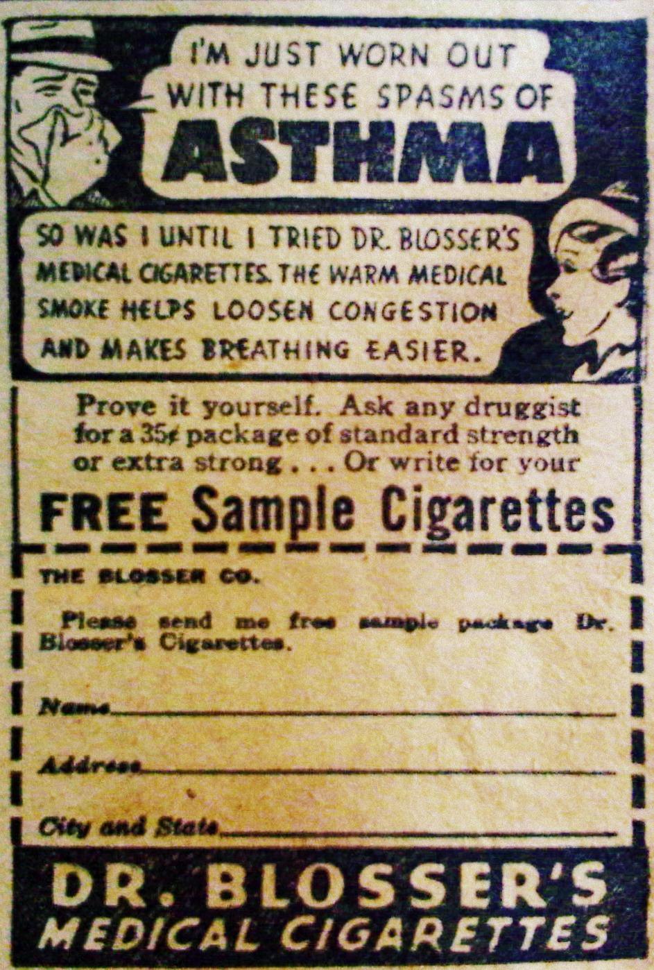 Dr. Blosser's Medical Cigarettes 1938