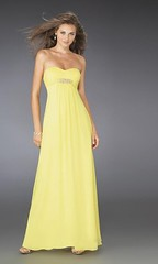 bridal party dress, day dress, neck, gown, clothing, yellow, woman, female, dress,