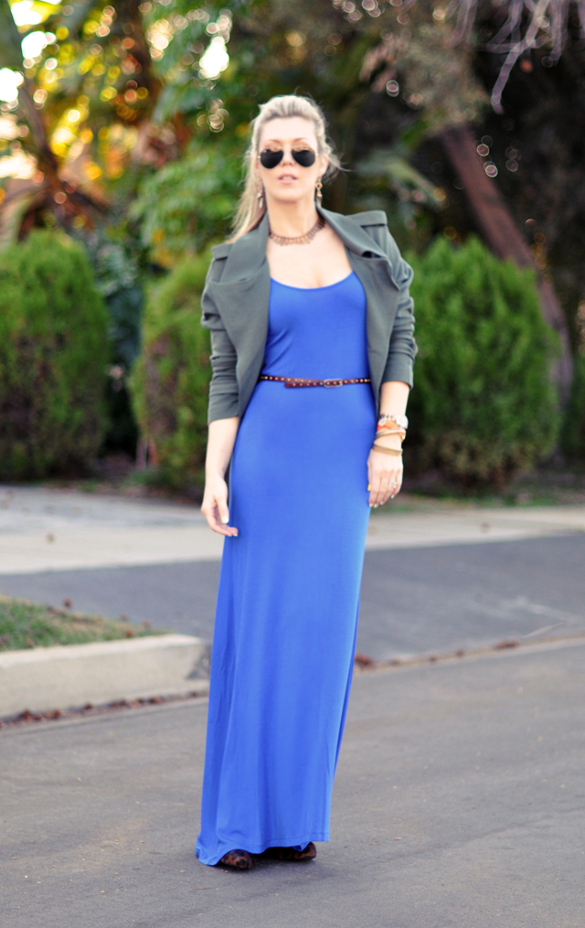 blue jersey maxi dress - army jacket