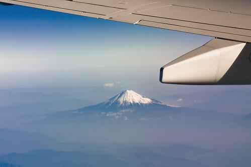 El monte Fuji visto desde el cielo