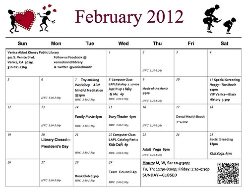 Venice Library February 2012 Events Calendar