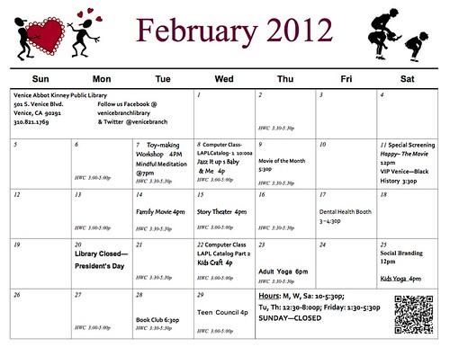 Venice Library February 2012 Events Calendar
