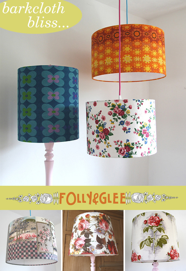 Folly & Glee, handmade barkcloth lampshades | Emma Lamb