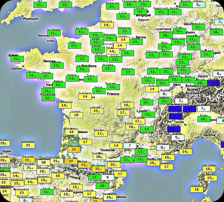 températures maximales du 8 février 1966 météopassion