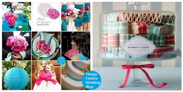 Fuchsia Teal Wedding Theme with Coordinating Dessert Table