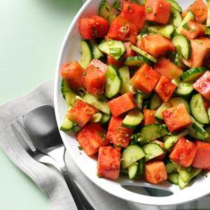 Minty watermelo-cucumber salad