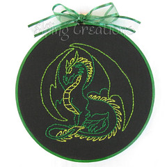 Green and Black Dragon Embroidery
