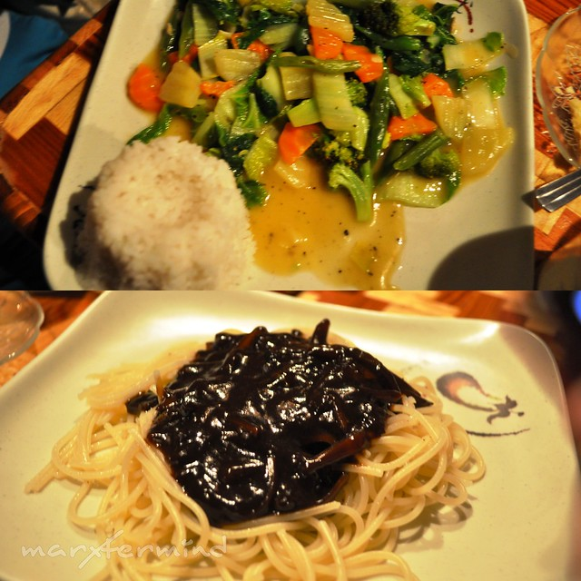 Vegetables & Black Pasta