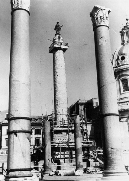 Rome -  Forum & Column of Trajan, the Basilica Ulpia: View of the Col. of  Trajan during the initial construction in encased protective brickwork (ca. 1944-45?).