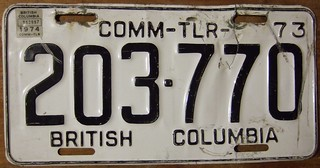 BRITISH COLUMBIA 1973-74 ---COMMERCIAL TRAILER PLATE