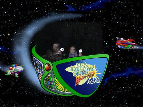 Dad and Mama Toní on Buzz Lightyear Astro Blasters