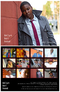 A screenshot of the bklyn boihood calendar shows two photos: one of the cover of the calendar, showing a model standing against a brick wall, wearing a grey overcoat, a white button-up shirt, and a skinny red tie. The bottom left side of the photo says bklyn boi calendar and the right side said 2012 calendar. The second photo, displayed below the first picture, shows small pictures of all of the calendar months.