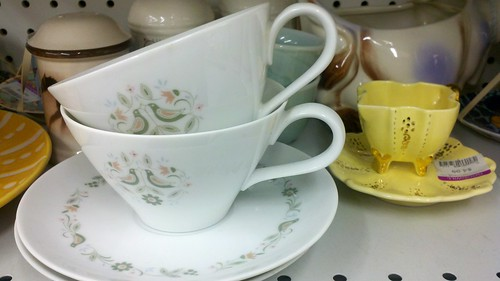tea cup and saucer on the shelf at Goodwill