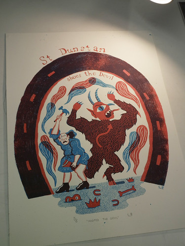 St Dunstan Hoofs the Devil - Two colour Screenprint