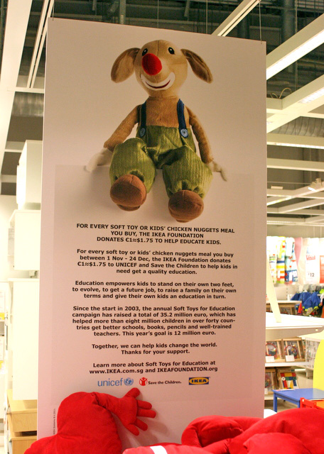 IKEA donates one euro from the sale of each soft toy to UNICEF