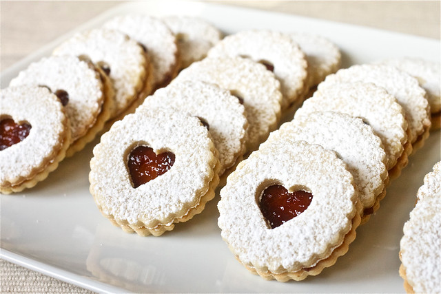 Pecan Linzer Cookies with Raspberry Filling - Smells Like Home