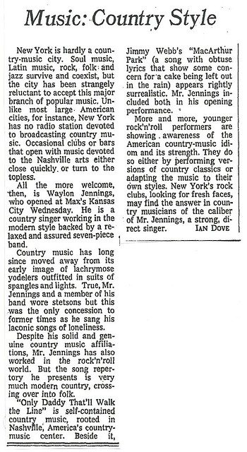 01-20-73 NYT Review - Waylon Jennings @ Max's Kansas City