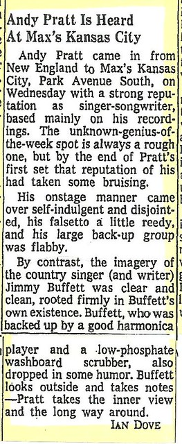 06-18-73 NYT Review - Andy Pratt @ Max's Kansas City