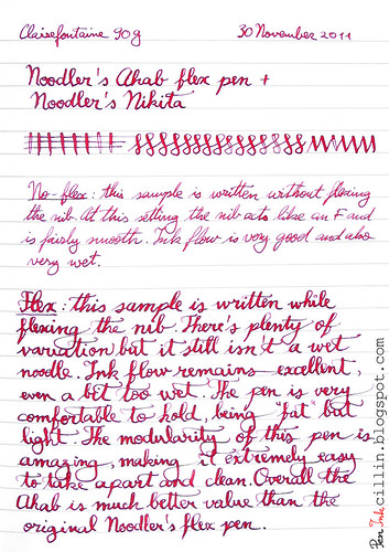 Noodler's Ahab writing sample